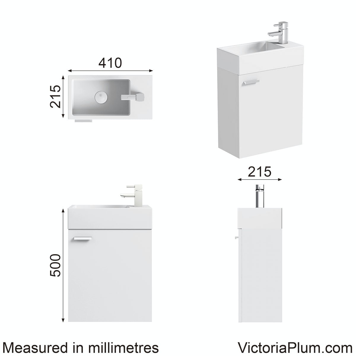 Dimensions for Orchard White wall hung cloakroom unit with resin basin 410mm