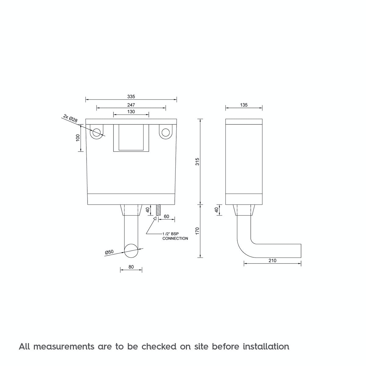 Dimensions for Concealed toilet cistern with bottom water inlet