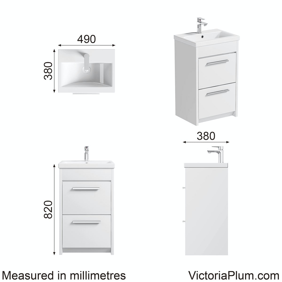 Dimensions for Clarity white vanity drawer unit with basin 500mm