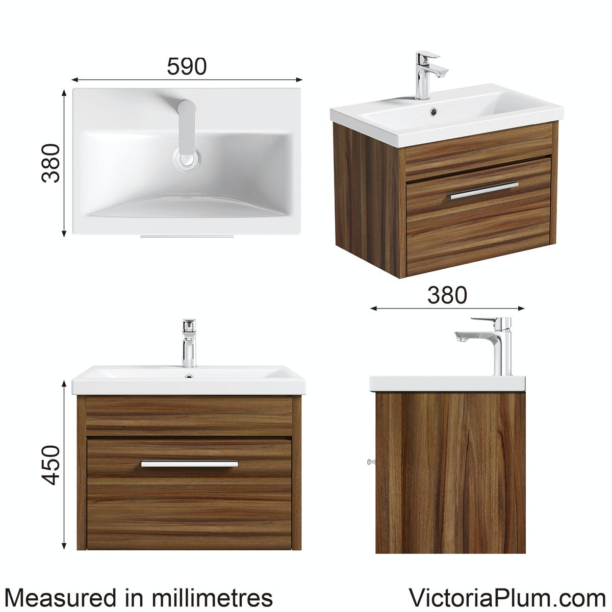 Dimensions for Clarity walnut wall hung drawer unit 600mm