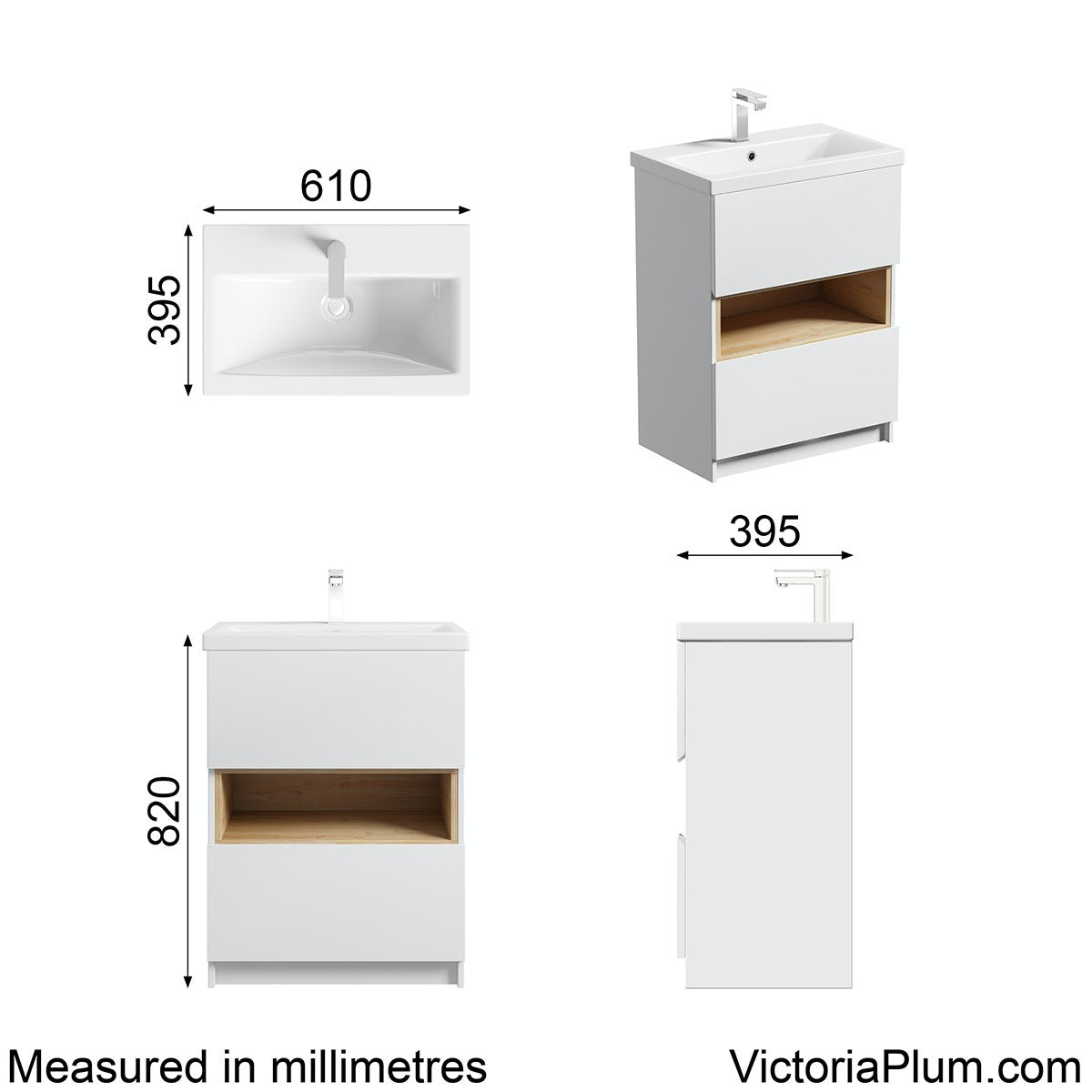 Dimensions for Mode Tate white & oak vanity unit 600mm with basin