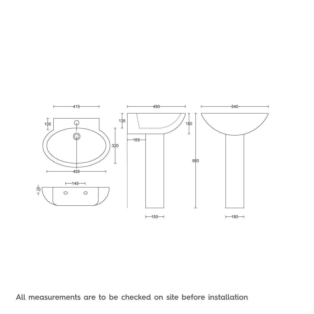 Dimensions for Deco Maine full pedestal basin 540mm