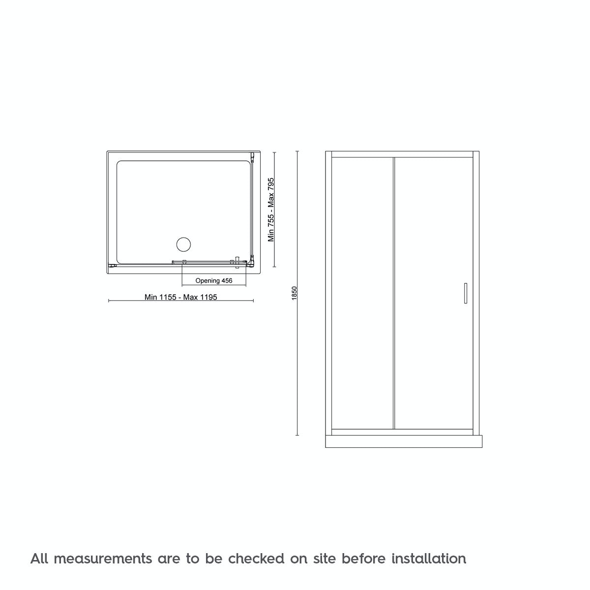 Dimensions for Mode Tate black 6mm sliding shower enclosure 1200 x 800