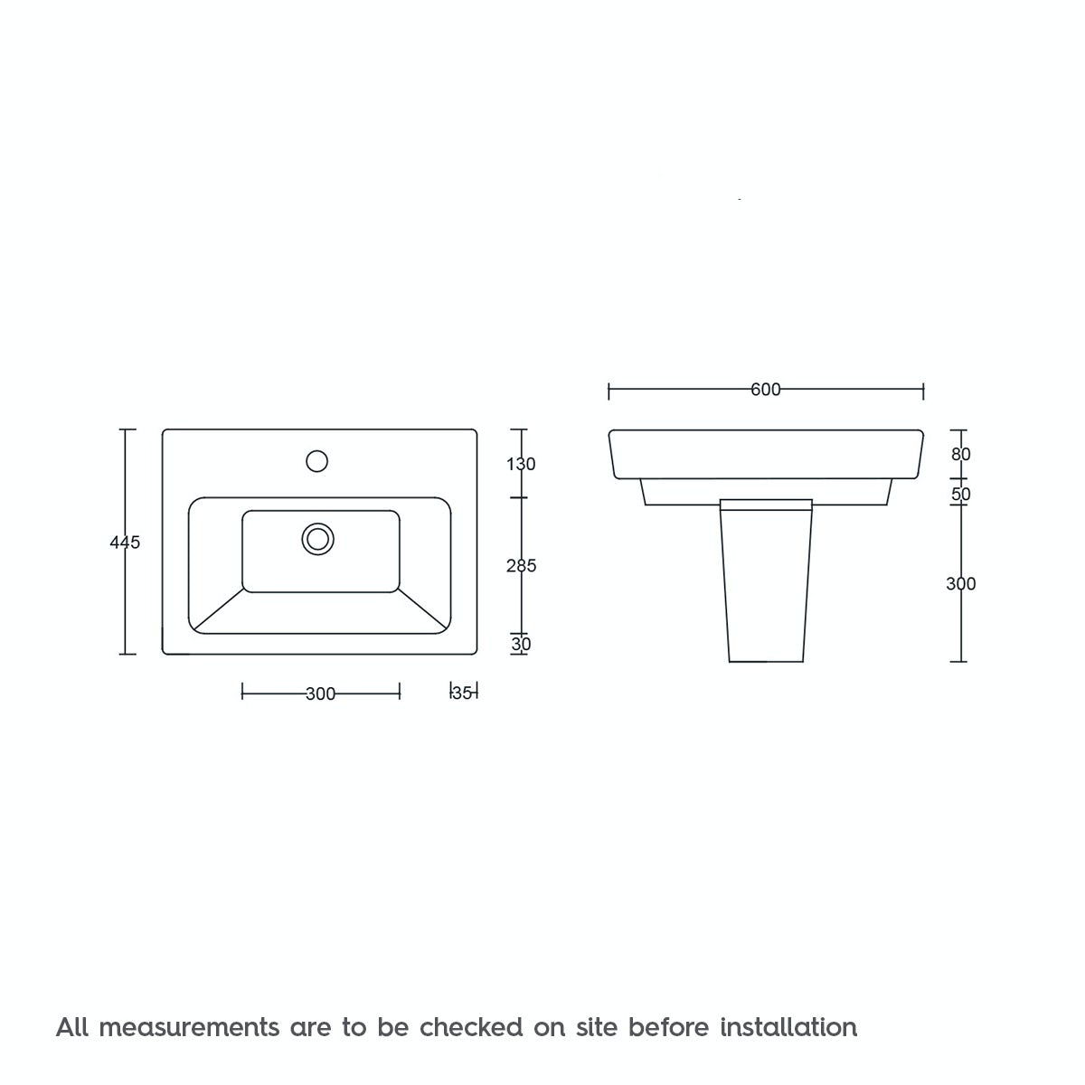 Dimensions for Mode Verso 1 tap hole semi pedestal basin 600mm