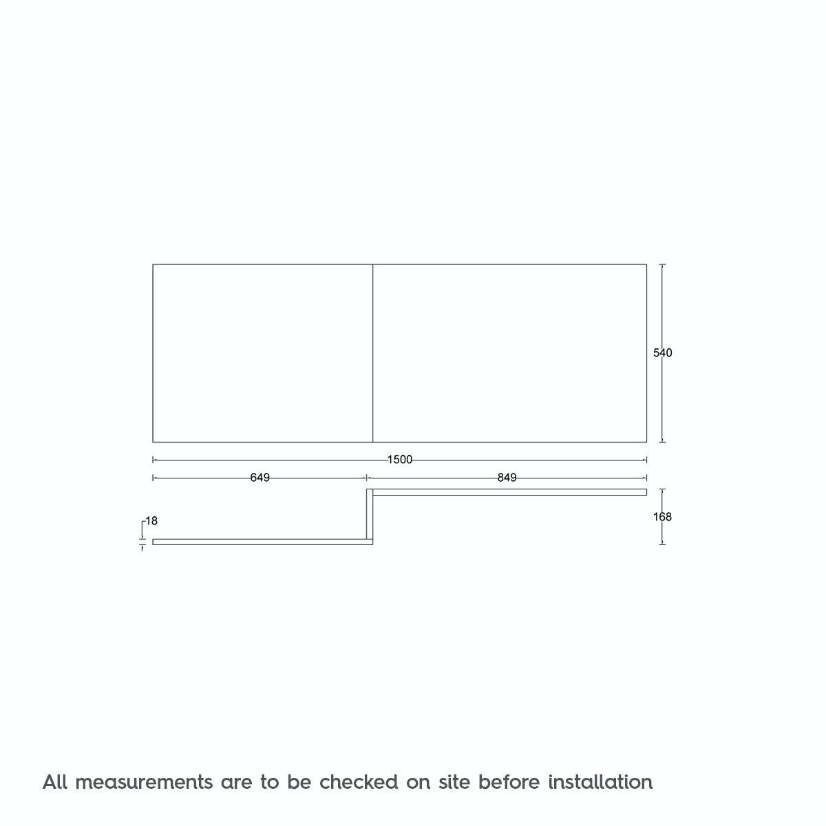 Dimensions for L shaped shower bath wooden front panel Drift oak 1500mm