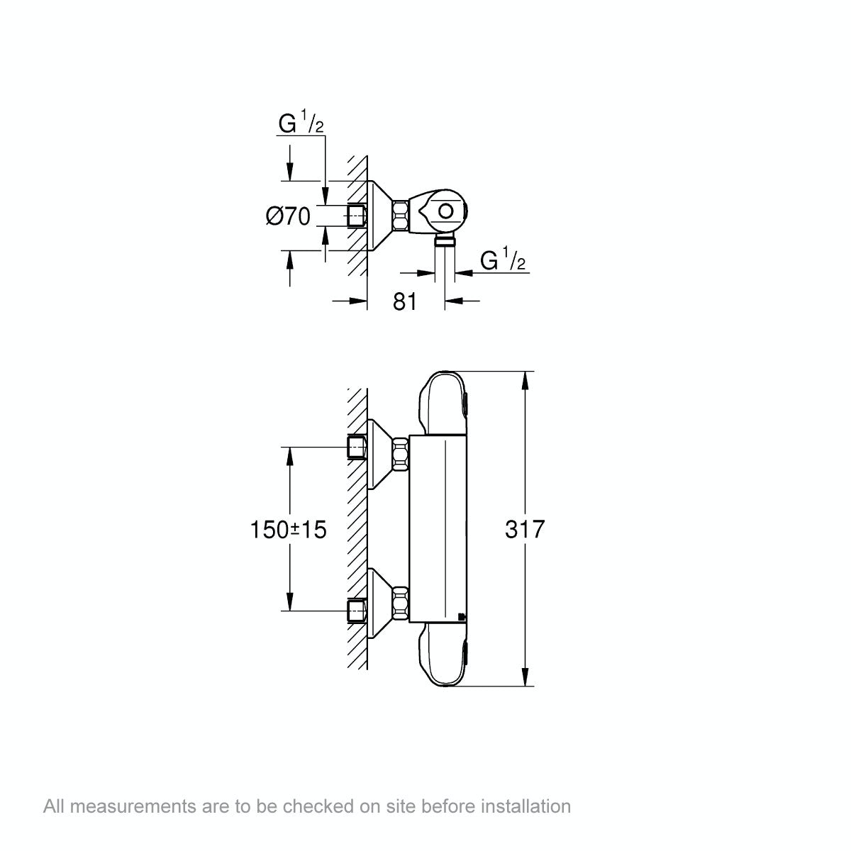 Dimensions for Grohe Grohtherm 1000 thermostatic shower valve