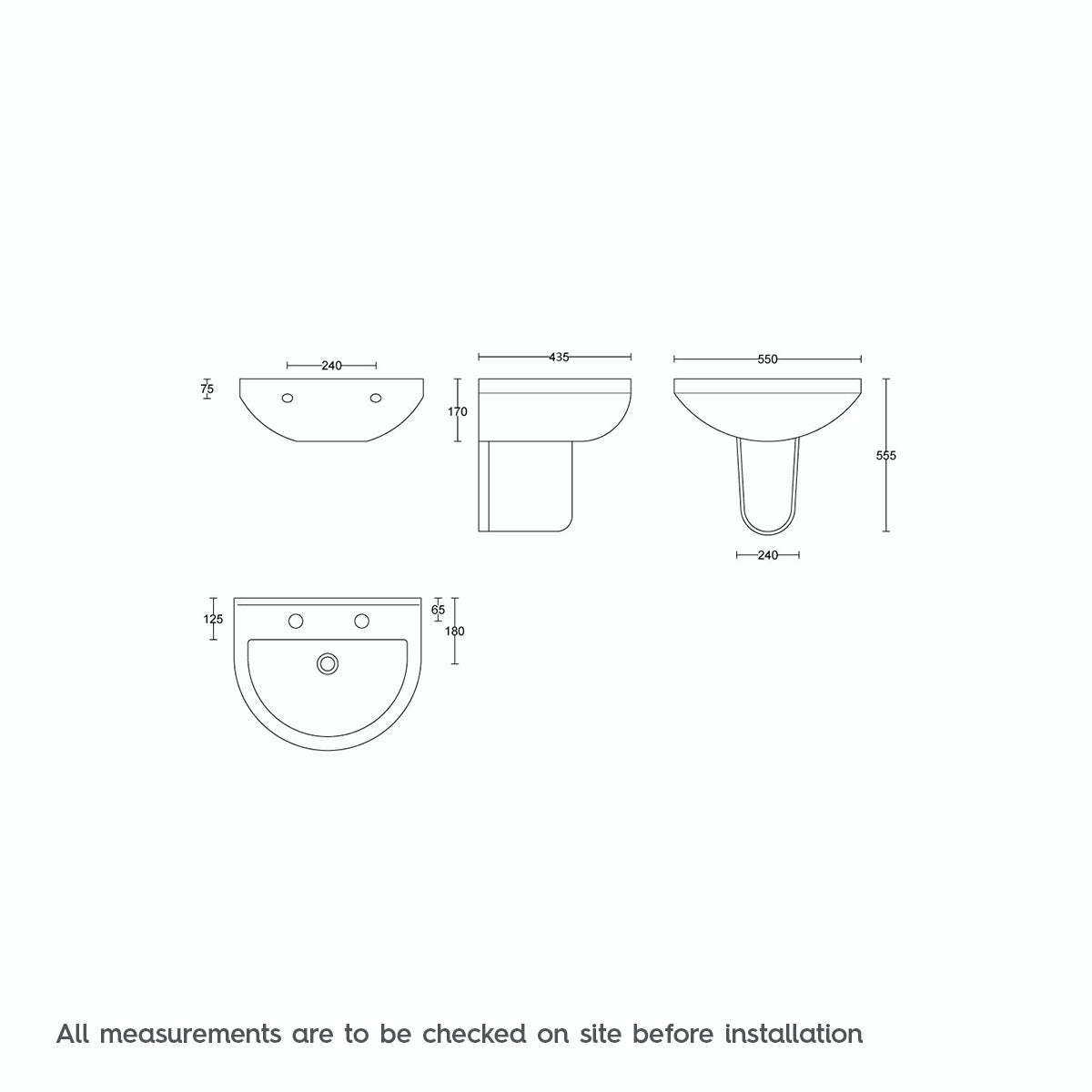 Dimensions for Orchard Eden 2 tap hole semi pedestal basin 550mm