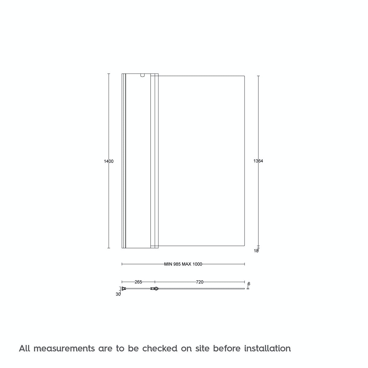 Dimensions for Orchard 6mm hinged panel straight shower bath screen