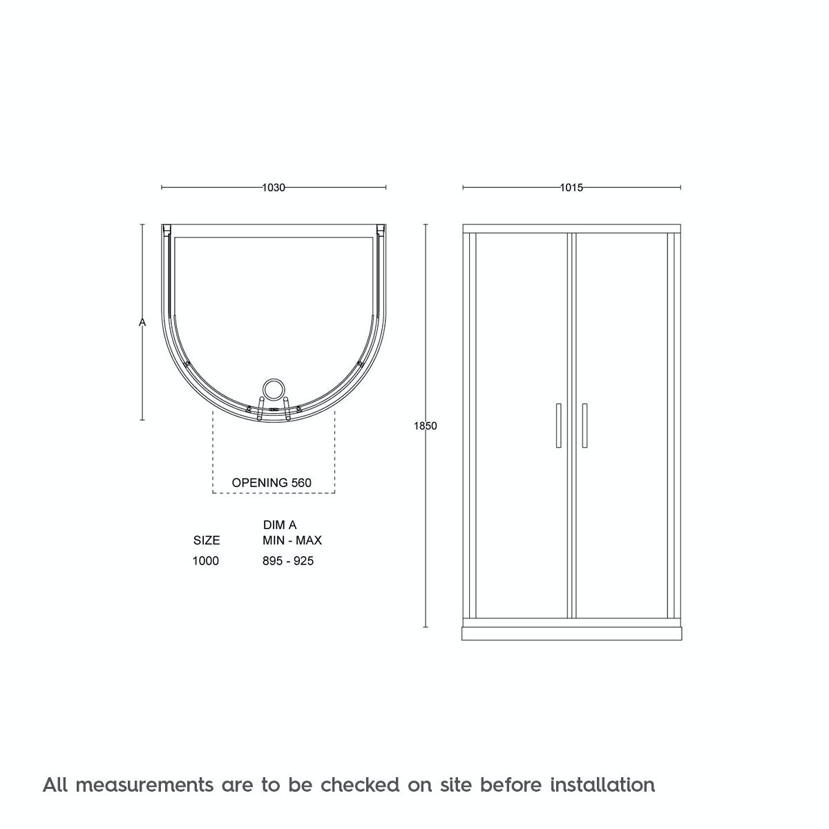 Dimensions for Orchard 6mm sliding D shaped shower enclosure 1030 x 900