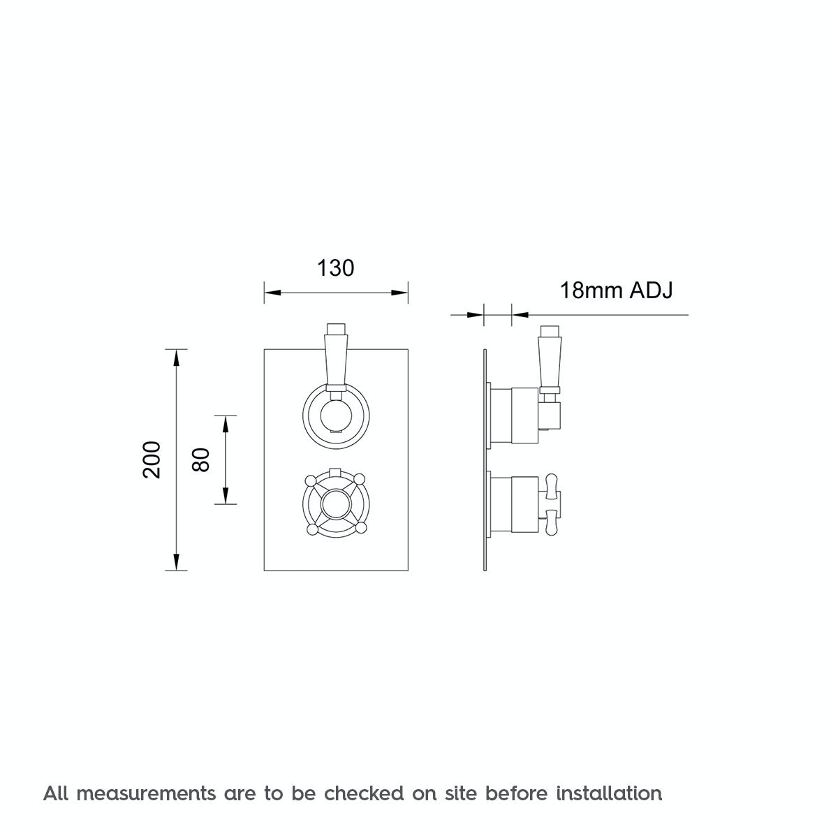 Dimensions for The Bath Co. Traditional square twin thermostatic shower valve with diverter