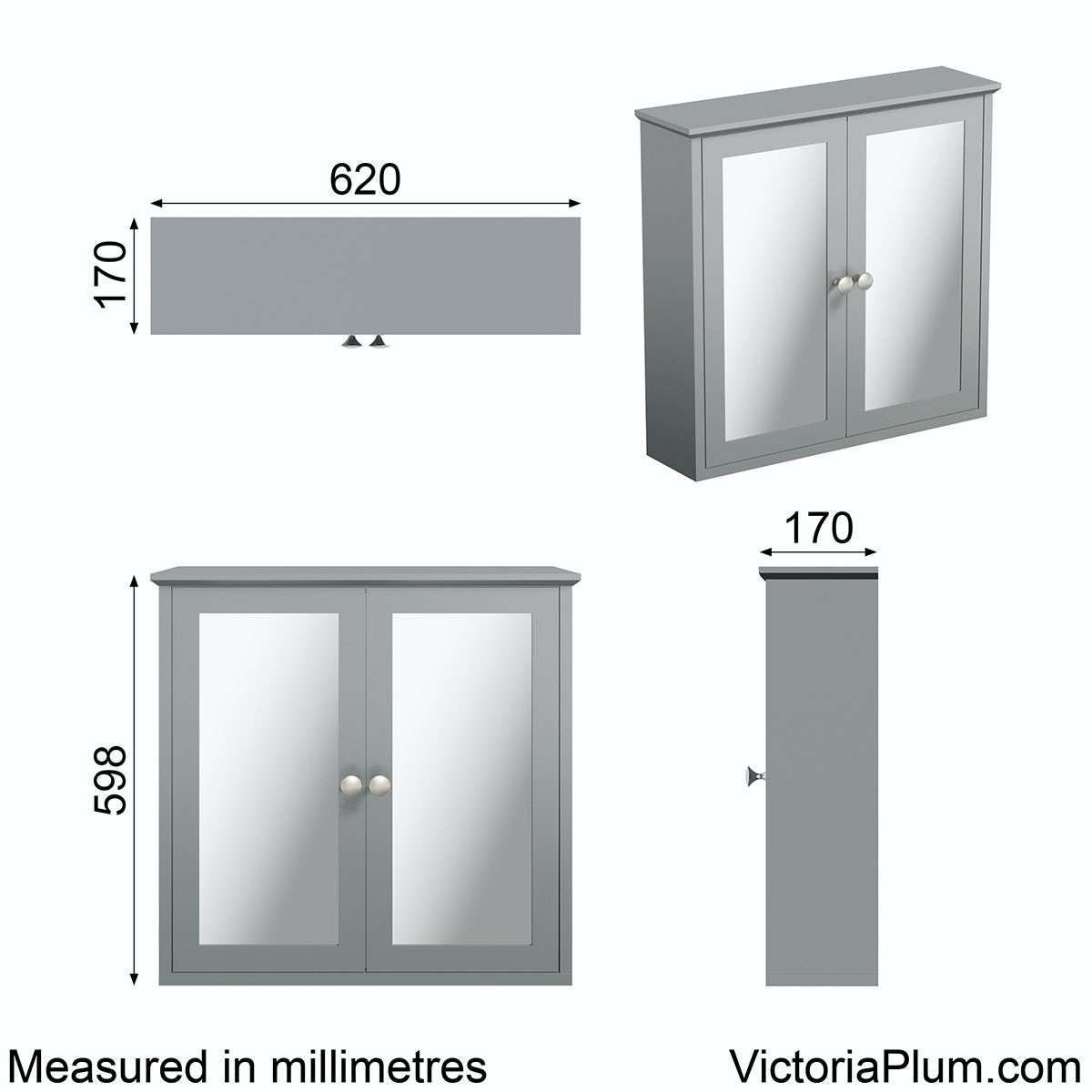Dimensions for The Bath Co. Camberley grey wall hung mirror cabinet