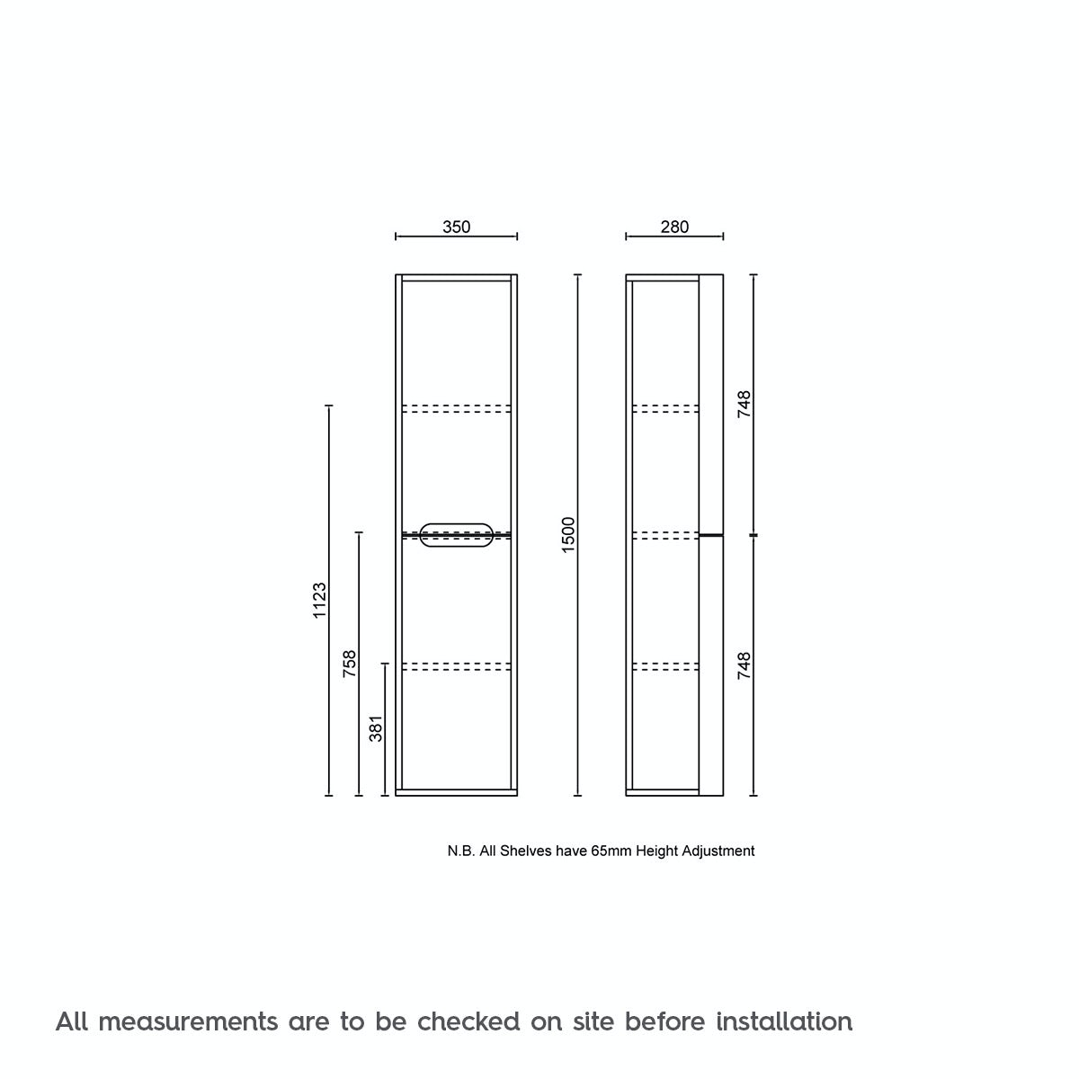 Dimensions for Mode Ellis essen wall hung cabinet