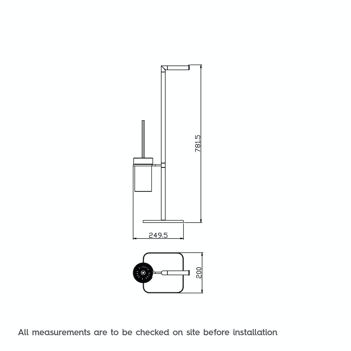 Dimensions for Orchard Options freestanding tall toilet organiser