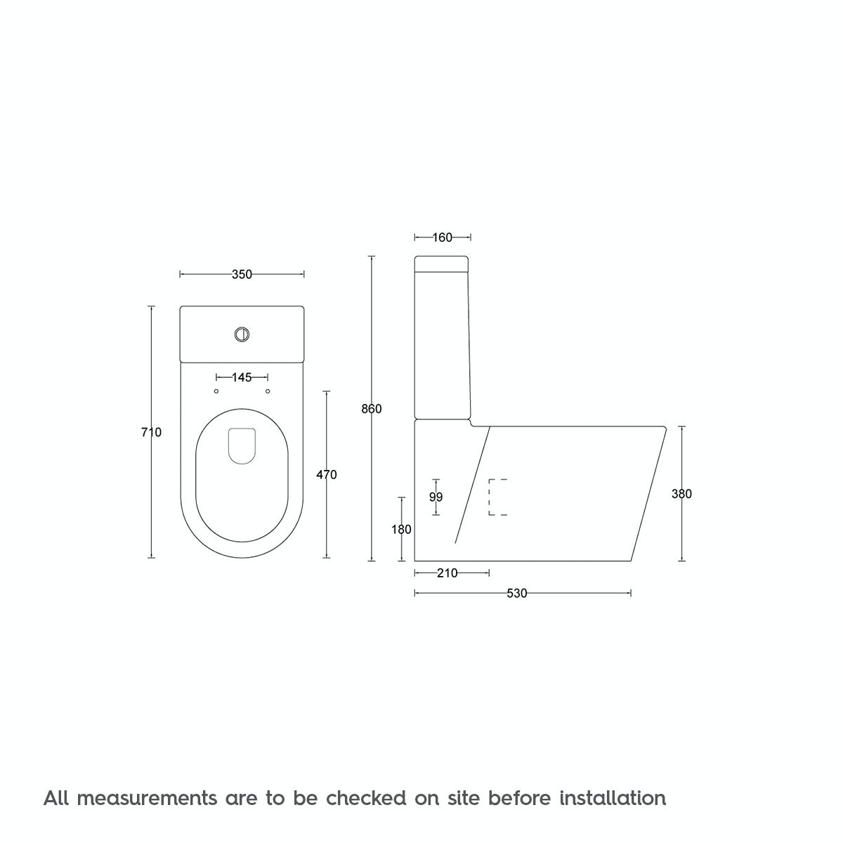 Dimensions for Mode Tate close coupled toilet with soft close seat