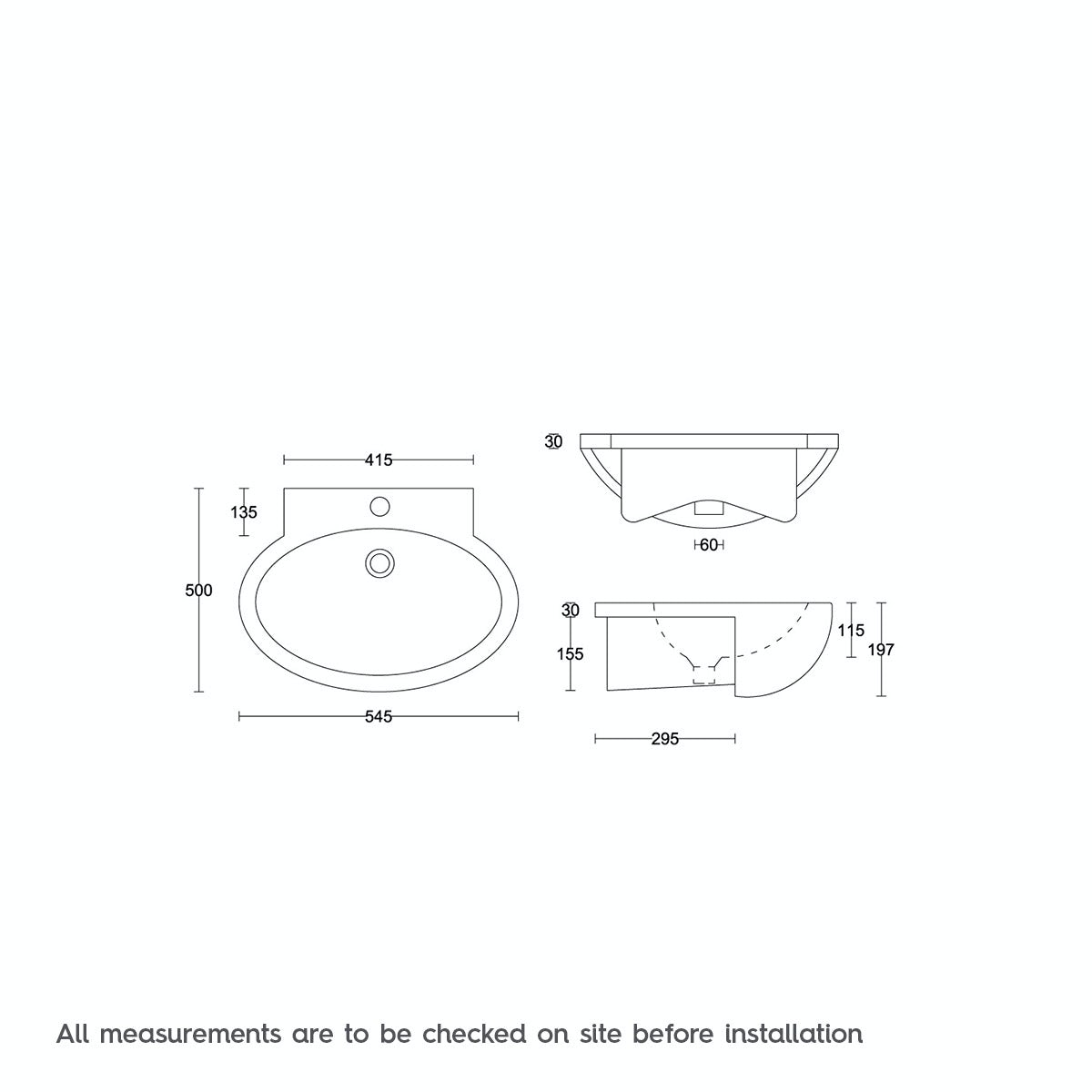 Dimensions for Orchard Maine 1 tap hole semi recessed countertop basin 545mm