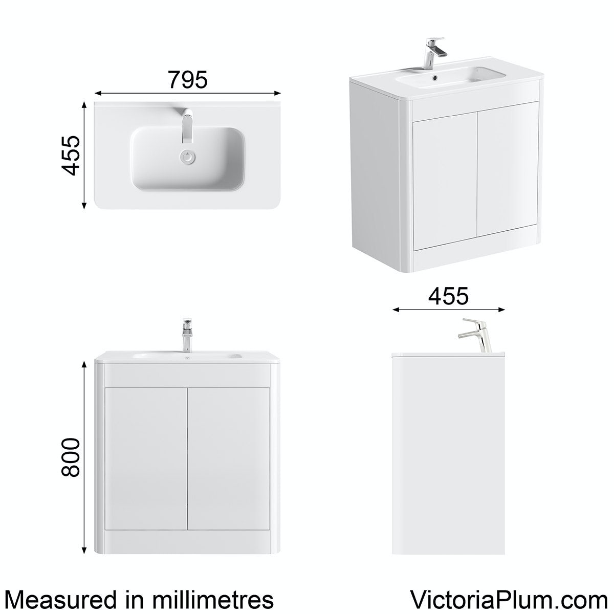 Dimensions for Mode Carter ice white floor mounted vanity unit and basin 800mm