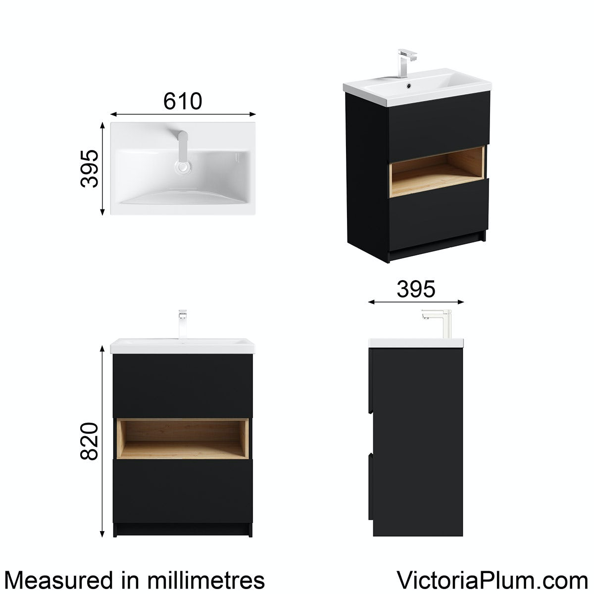 Dimensions for Mode Tate anthracite & oak vanity unit 600mm with basin