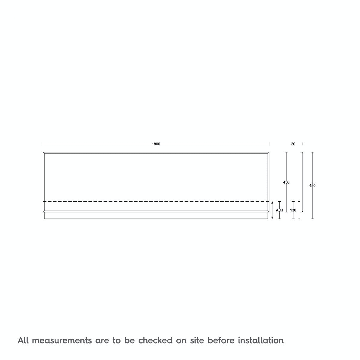 Dimensions for Orchard White wooden straight bath front panel 1800mm