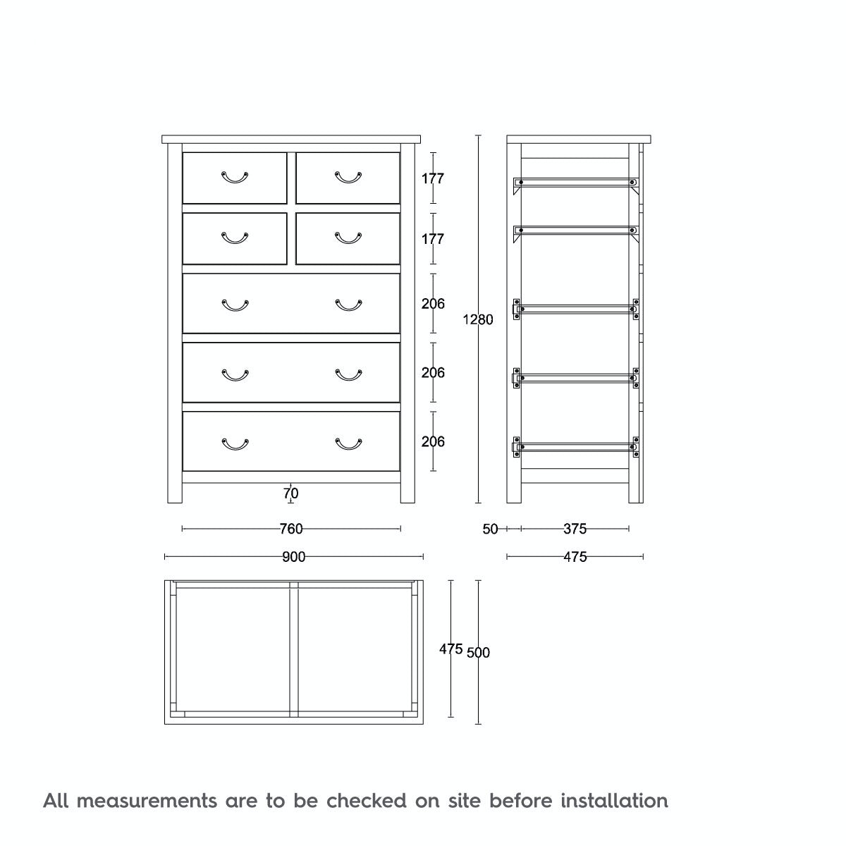Dimensions for MFI Rome reclaimed pine 4 over 3 drawer chest
