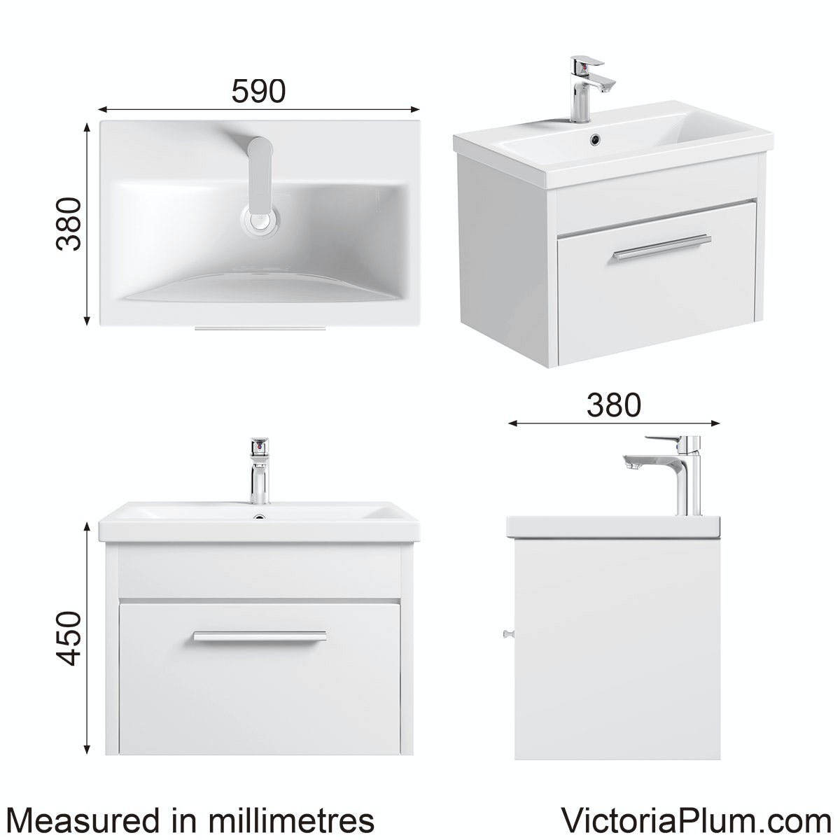 Dimensions for Clarity white wall hung vanity drawer unit with basin 600mm