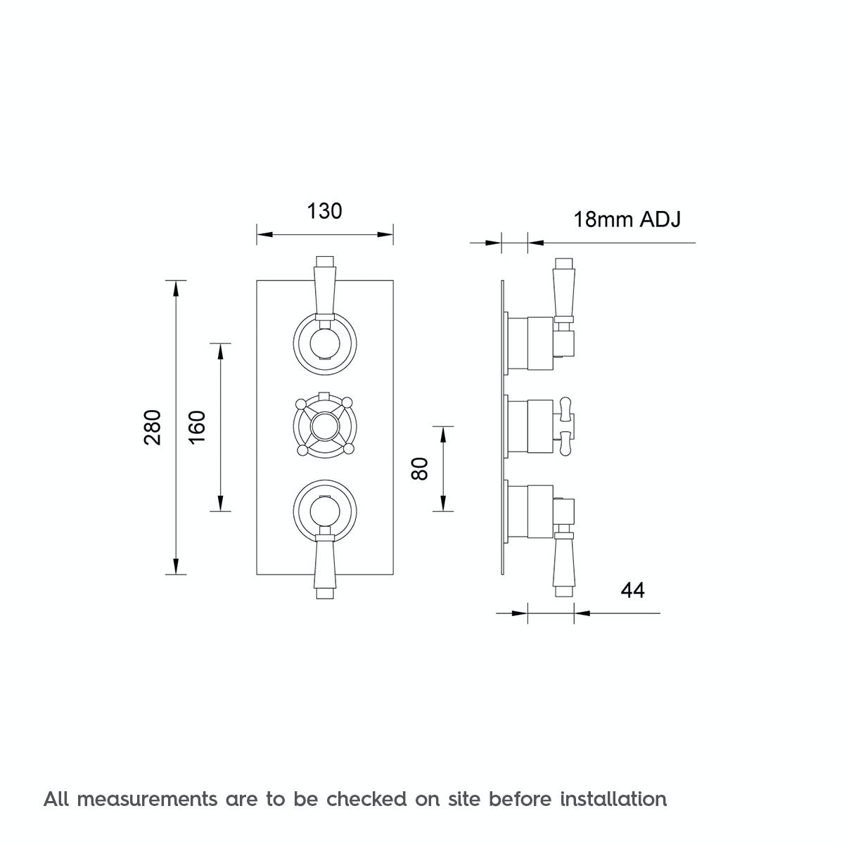 Dimensions for The Bath Co. Traditional square triple thermostatic shower valve with diverter