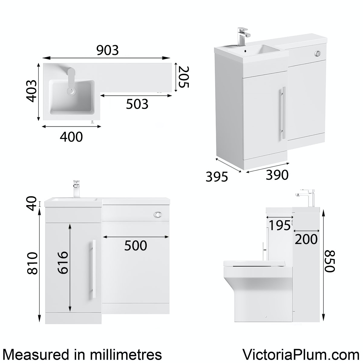 Dimensions for Orchard MySpace white left handed unit including concealed cistern
