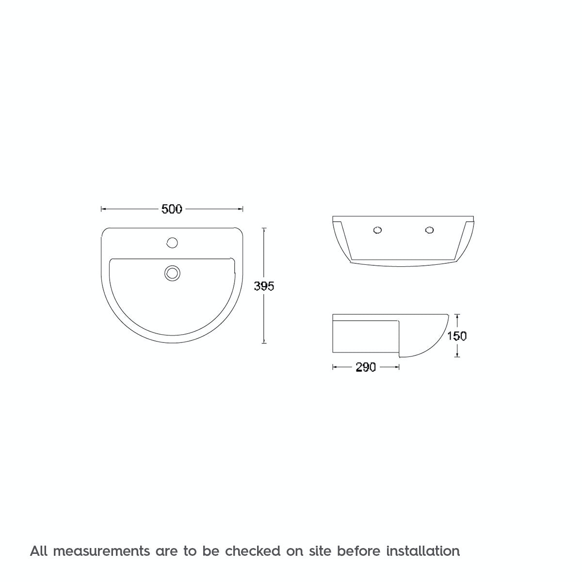 Dimensions for Orchard Elena 1 tap hole semi recessed counter top basin 500mm