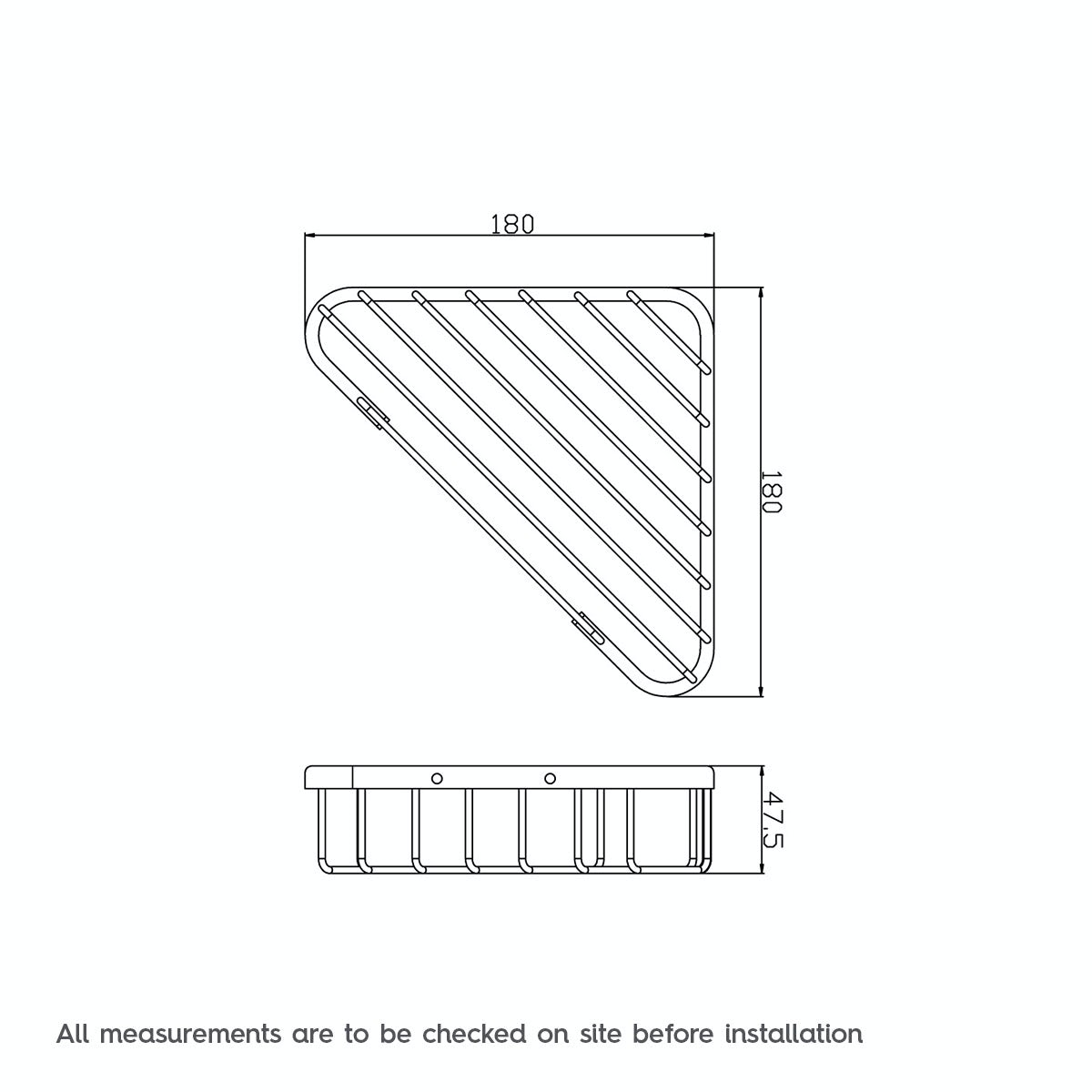 Dimensions for Orchard Options brass single triangular shower caddy