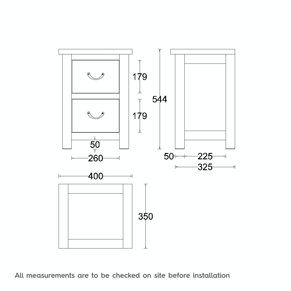 Dimensions for MFI Rome reclaimed pine 2 drawer bedside