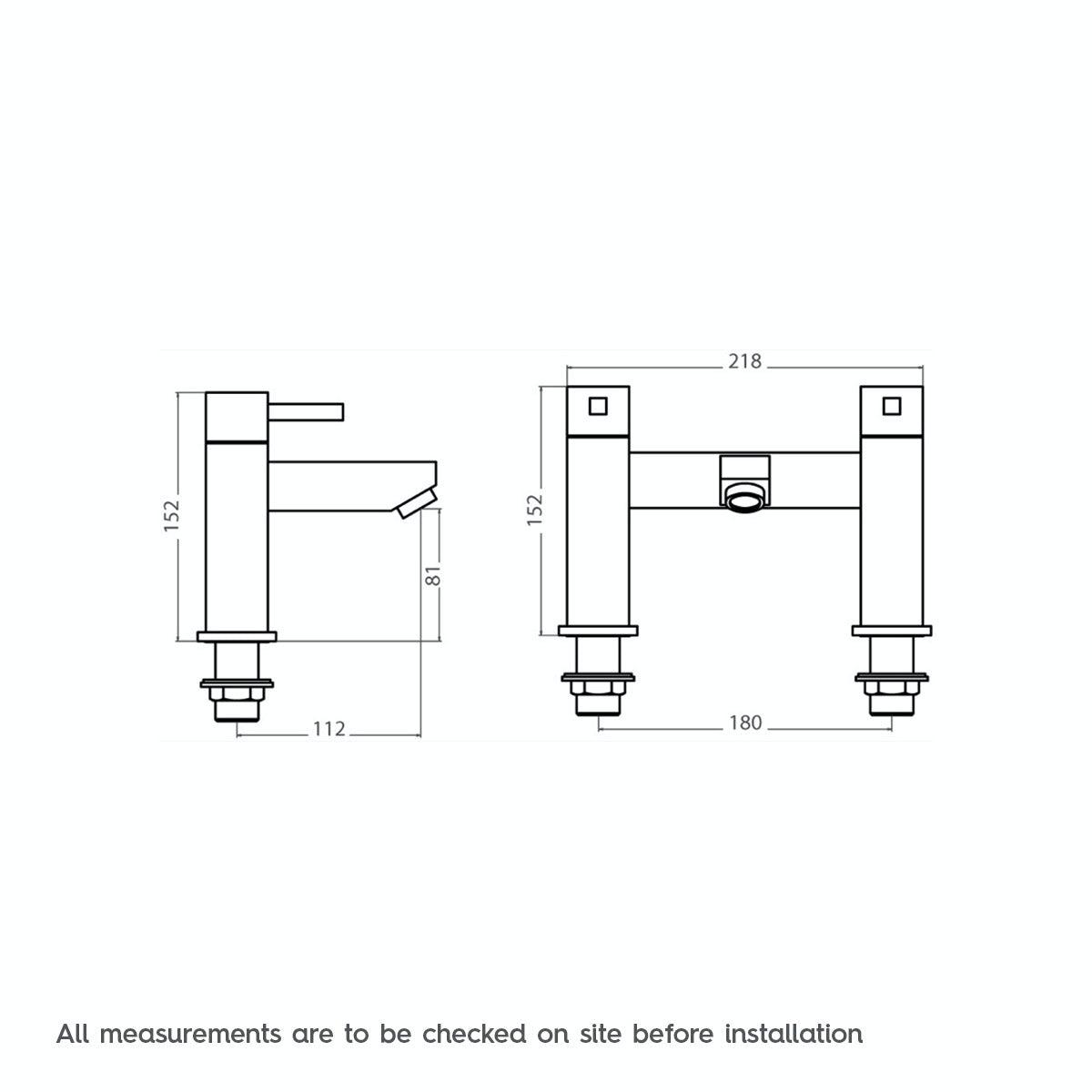 Dimensions for Cubik bath mixer tap
