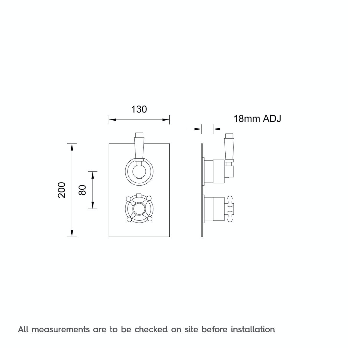 Dimensions for The Bath Co. Traditional square twin thermostatic shower valve
