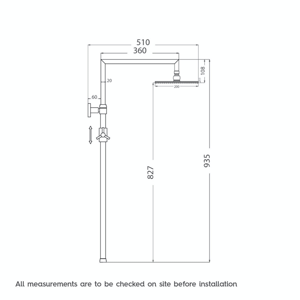 Dimensions for Orchard Minimalist waifer round shower riser system
