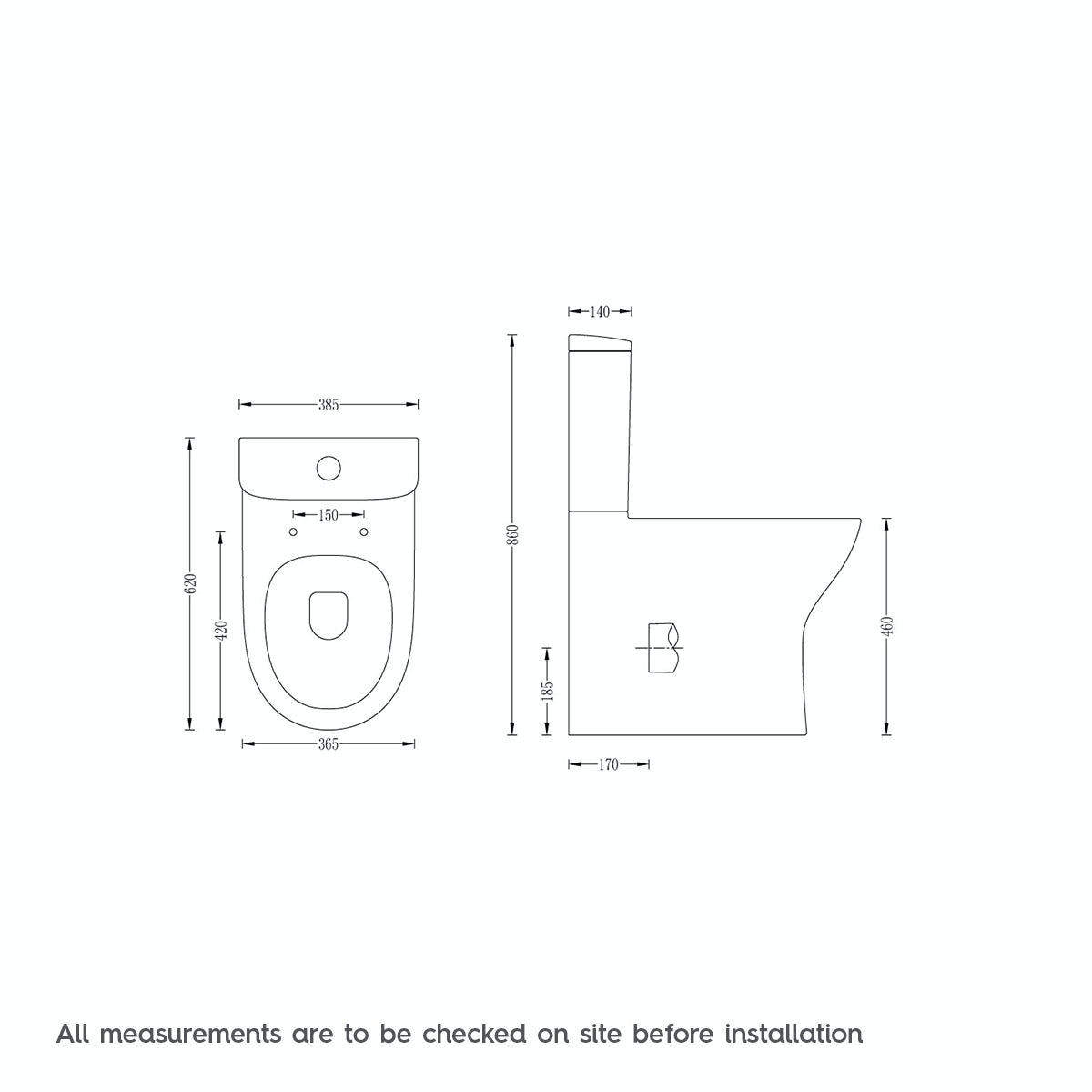 Dimensions for Mode Fairbanks comfort height close coupled toilet with soft close toilet seat