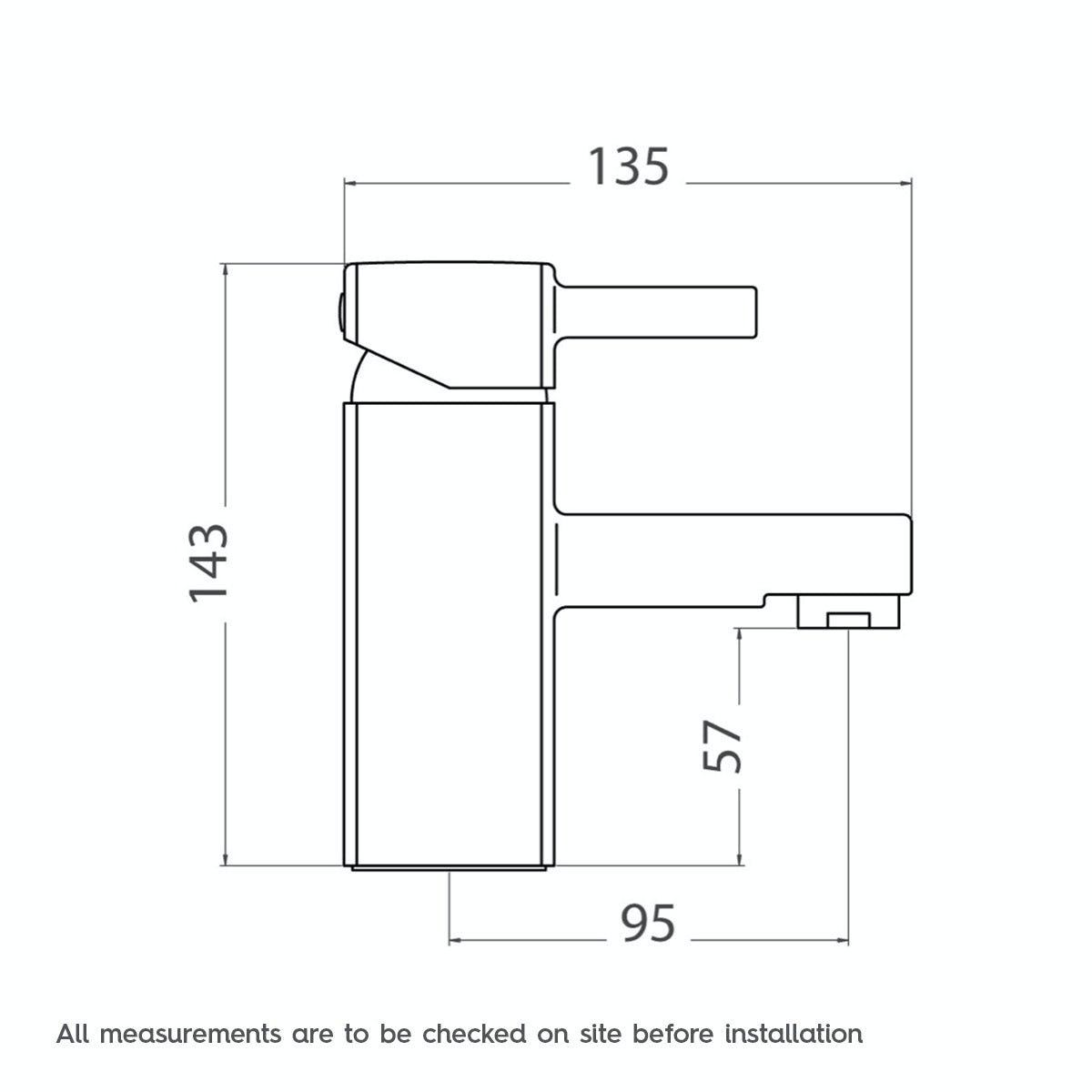 Dimensions for Orchard Derwent basin mixer tap