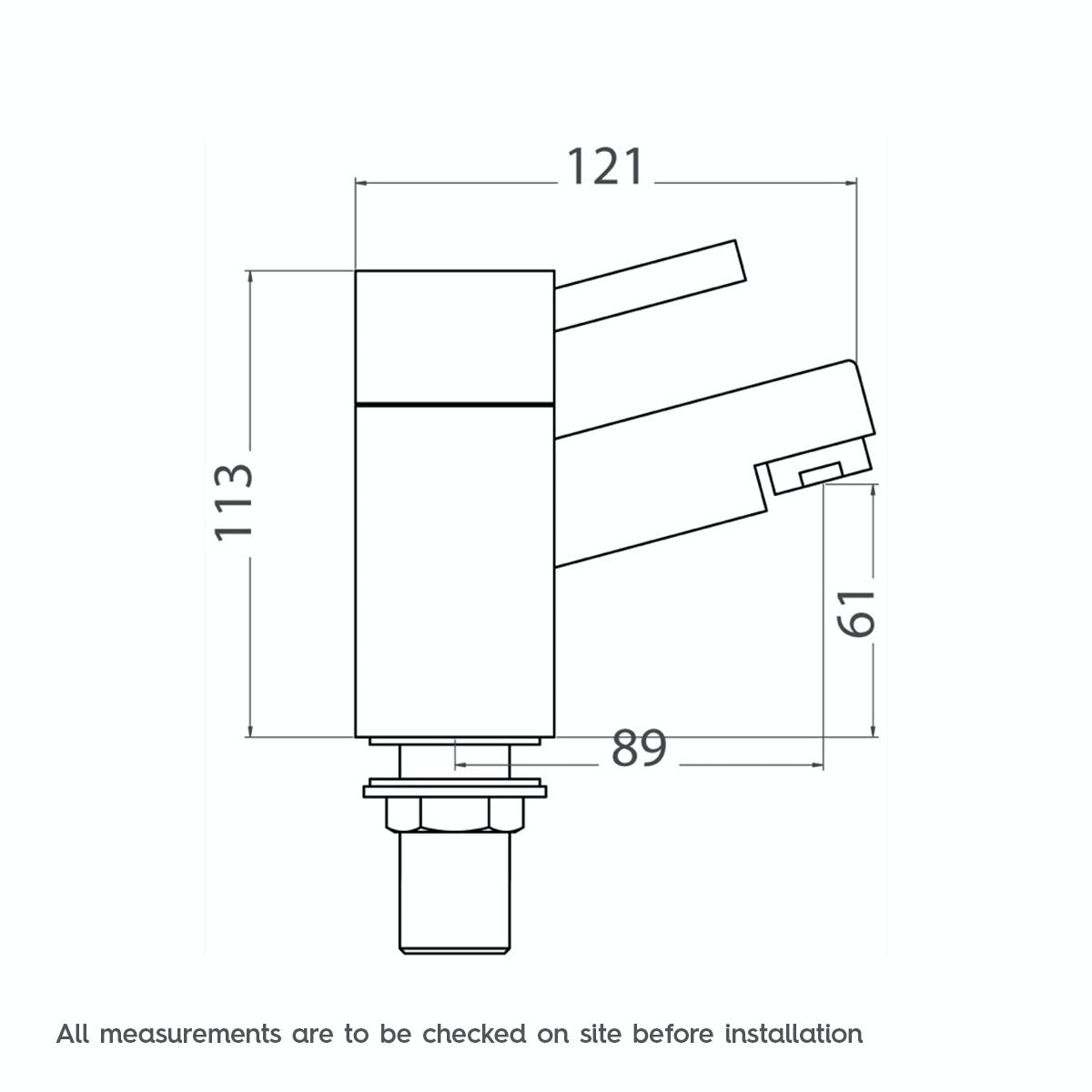 Dimensions for Orchard Matrix bath pillar taps