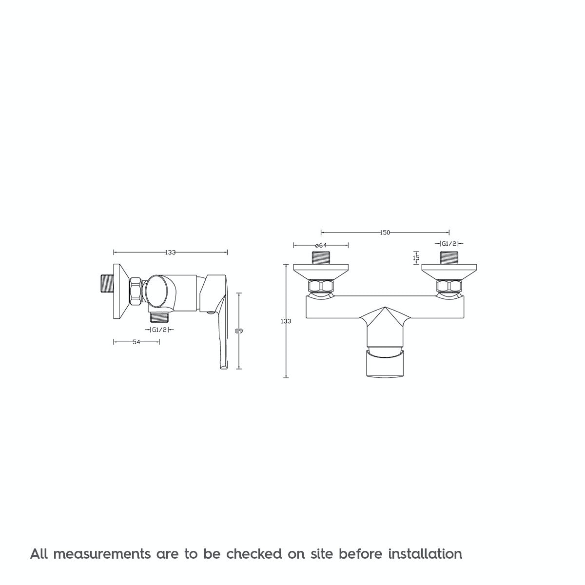 Dimensions for Langdale manual shower valve