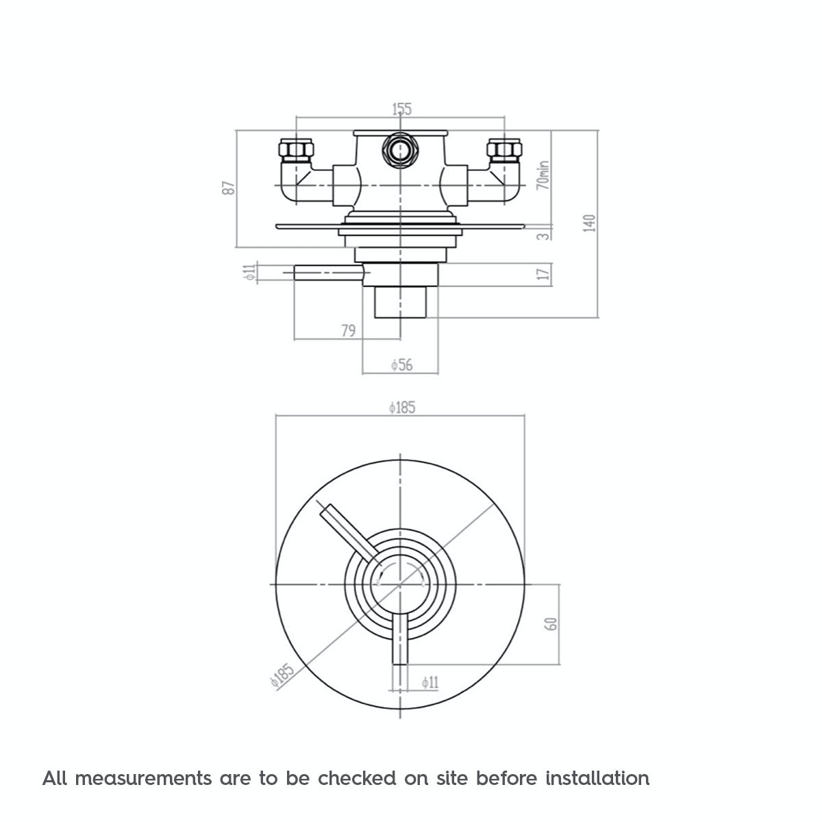 Dimensions for Mode Minimalist concealed thermostatic shower valve