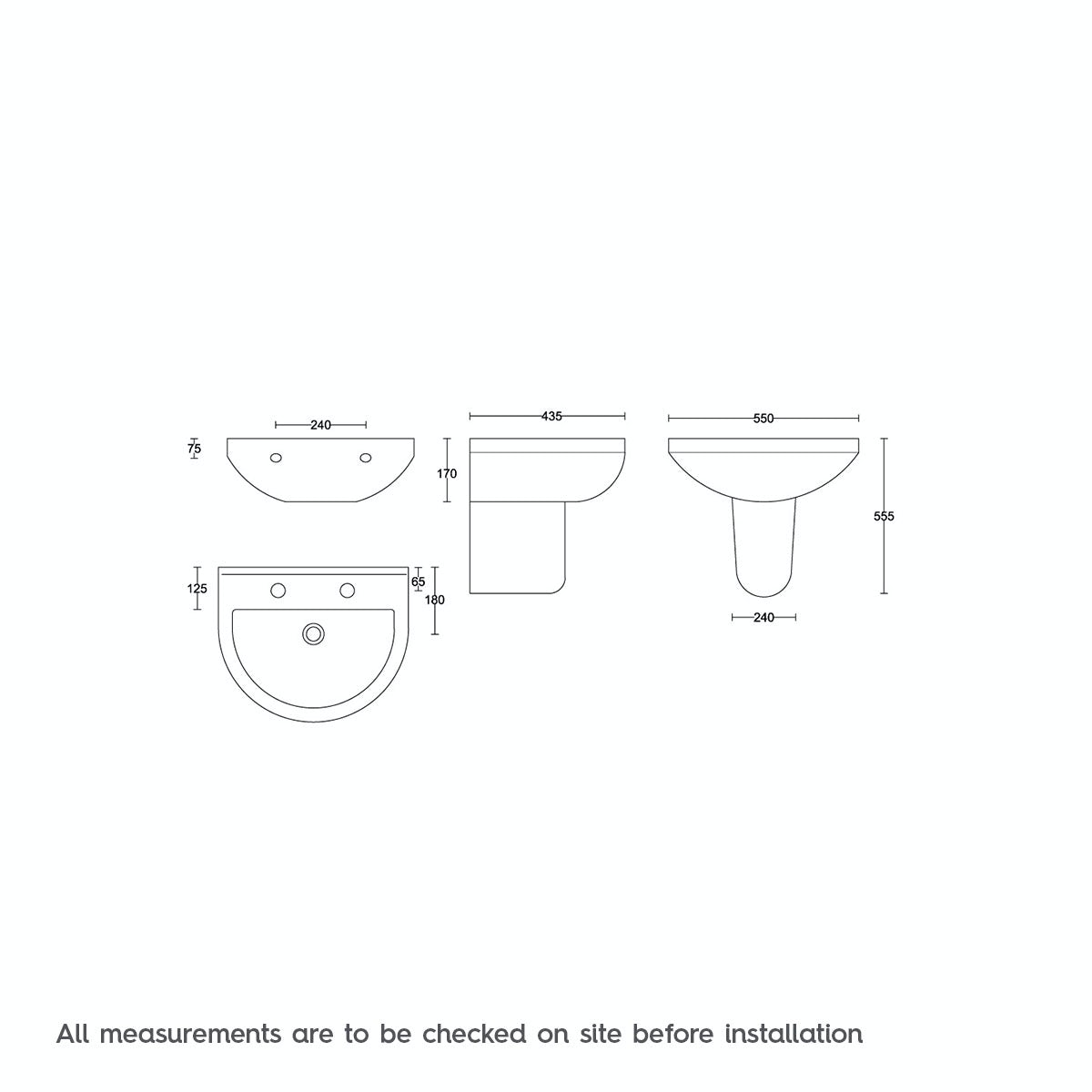 Dimensions for Orchard Wharfe 2 tap hole semi pedestal basin 550mm