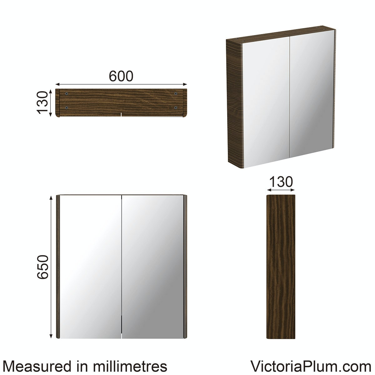 Dimensions for Mode Sherwood chestnut curved mirror cabinet 600mm