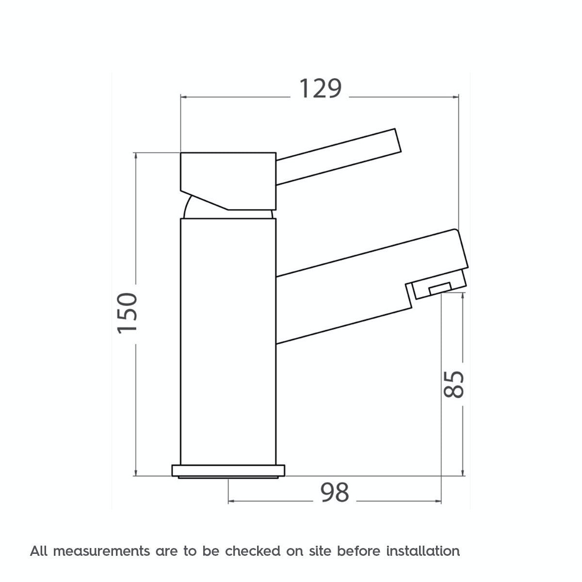 Dimensions for Orchard Wharfe basin mixer tap
