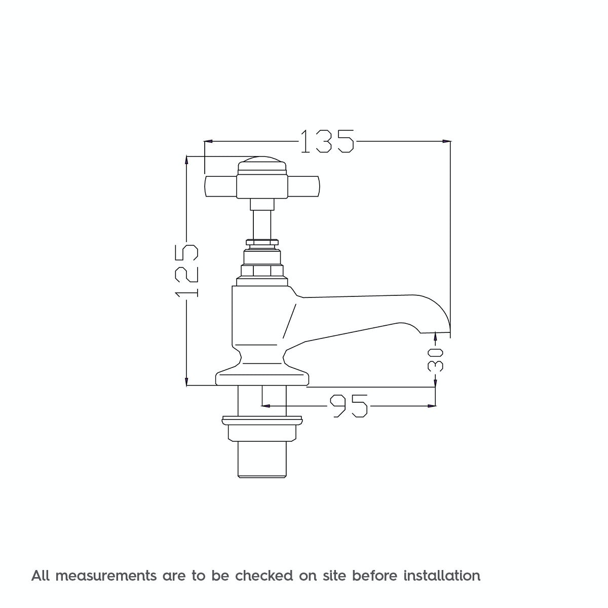 Dimensions for The Bath Co. Dulwich bath pillar taps