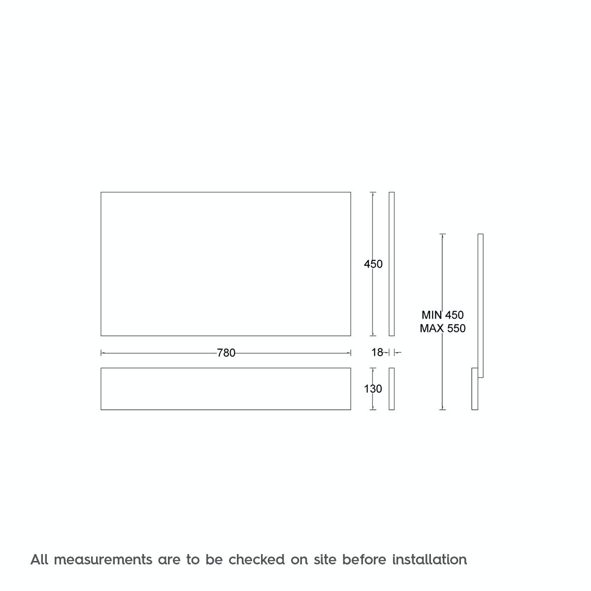 Dimensions for Drift essen wooden bath end panel 800mm