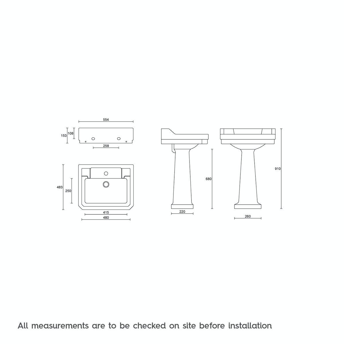 Dimensions for The Bath Co. Camberley 1 tap hole full pedestal basin 550mm