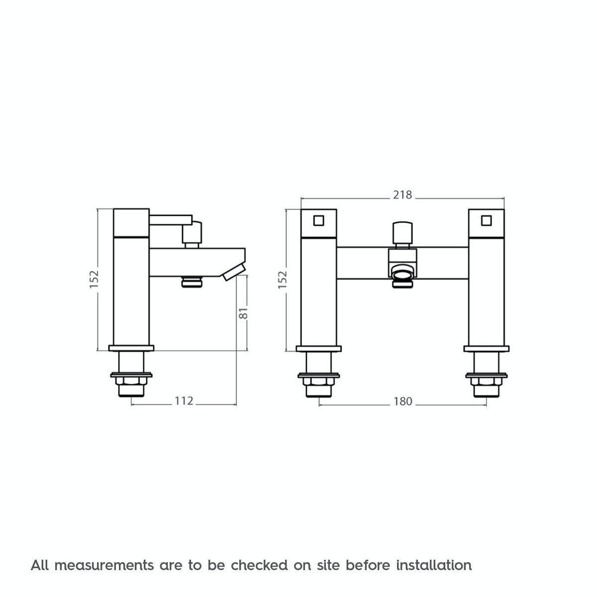 Dimensions for Cubik bath shower mixer tap