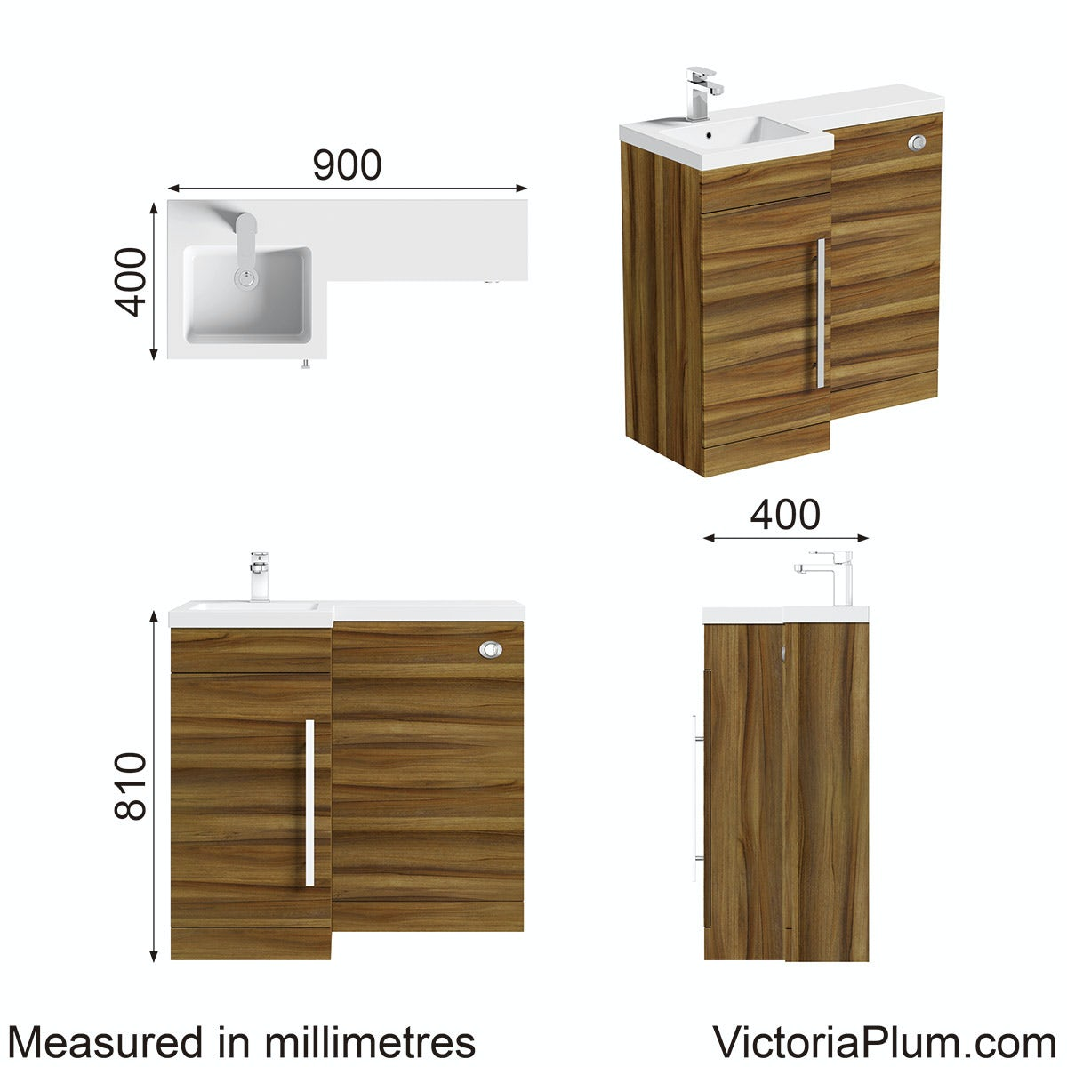 Dimensions for Orchard MySpace walnut left handed unit including concealed cistern