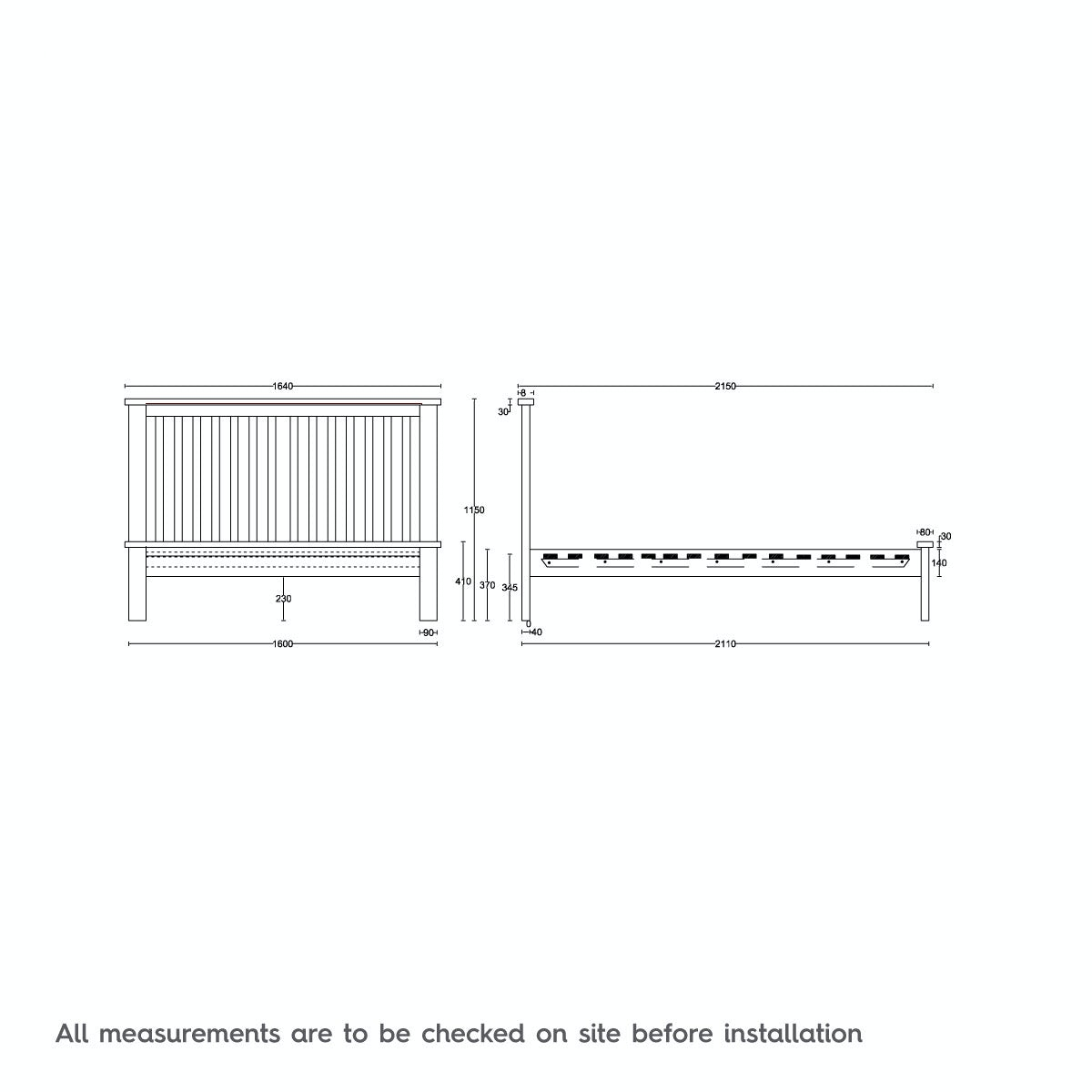 Dimensions for MFI Rome Oak and Mellow Sage King Size Bed