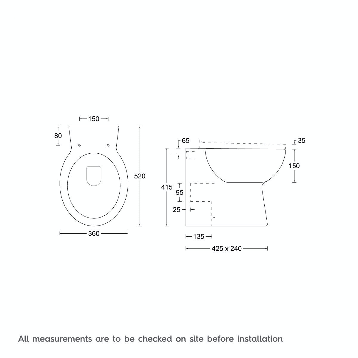 Dimensions for Clarity back to wall toilet with seat