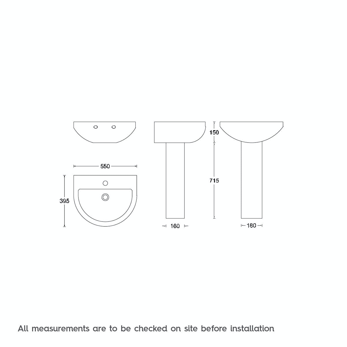 Dimensions for 450mm basin