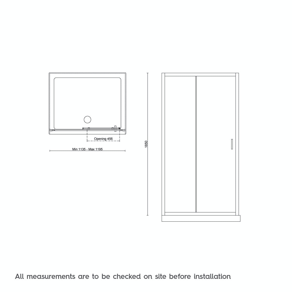 Dimensions for Mode black 6mm sliding shower door 1200mm