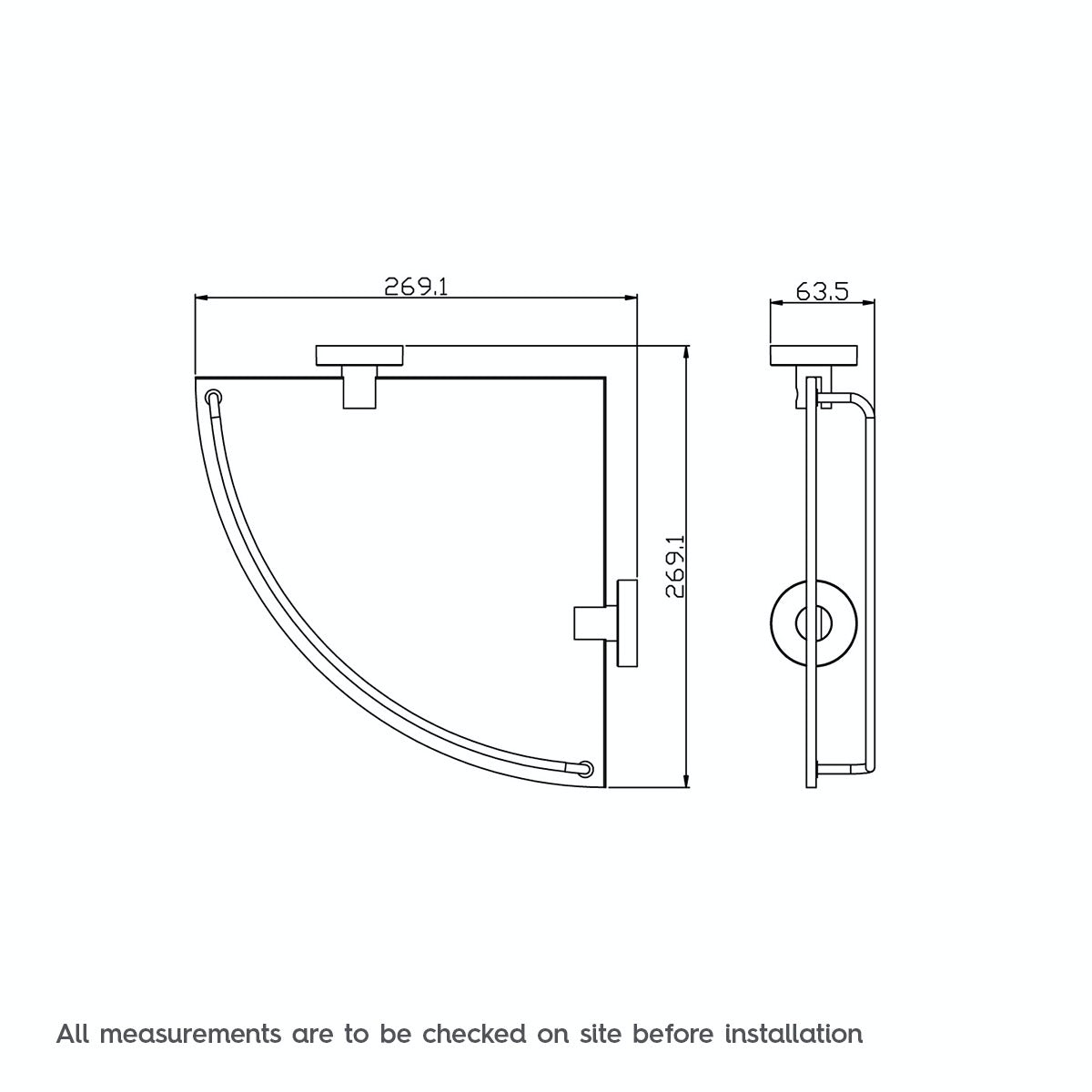Dimensions for Orchard Matrix glass corner shelf